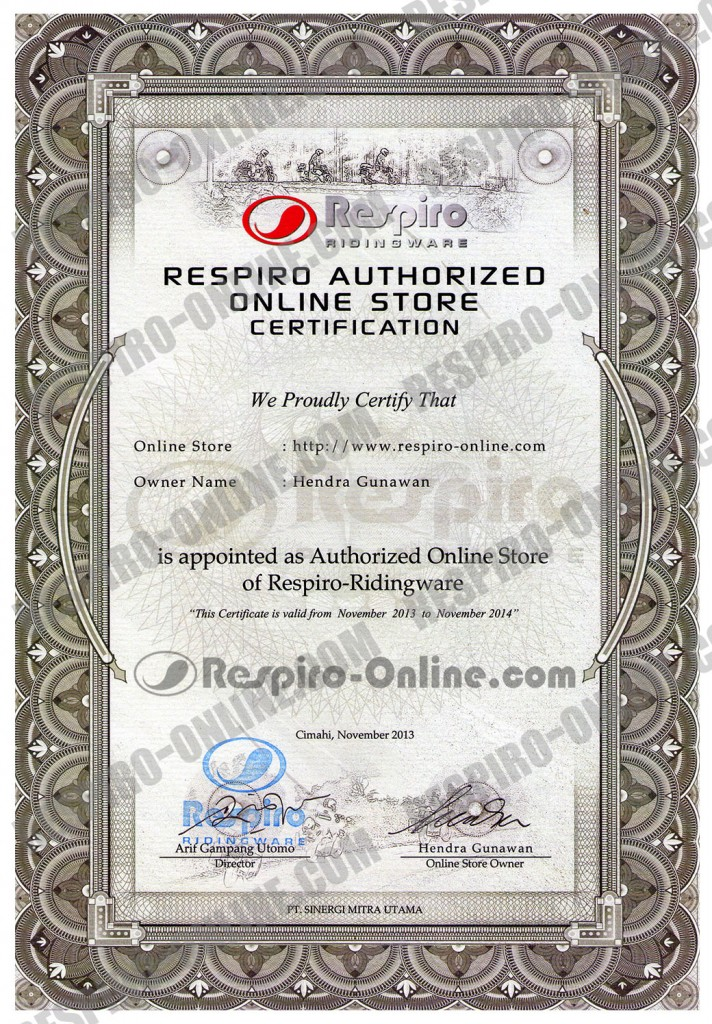 sertifikat online store